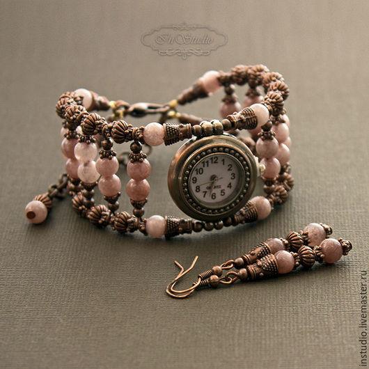 Часы ручной работы. Ярмарка Мастеров - ручная работа. Купить Часы браслет из агата Клубничный восторг. Handmade. браслет из камней