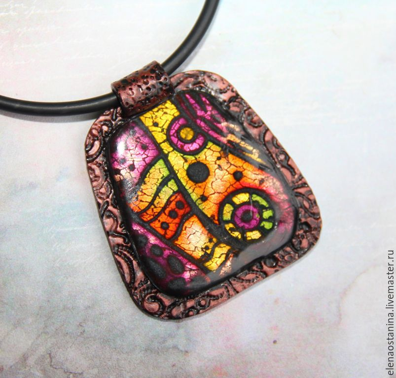 Large polymer clay pendant stained Glass Windows, Pendant, Ekaterinburg,  Фото №1