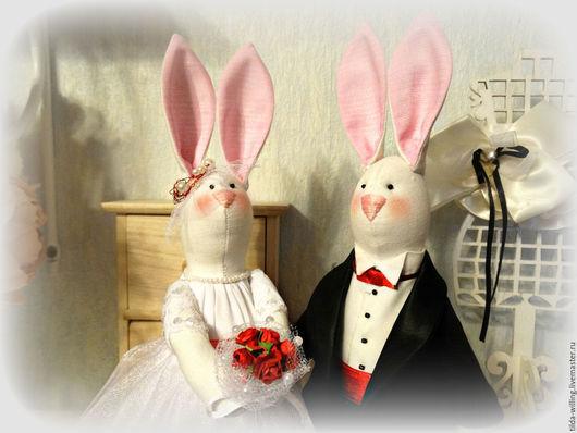 Куклы Тильды ручной работы. Ярмарка Мастеров - ручная работа. Купить Свадебные зайчики в подарочной коробке. Handmade. Белый