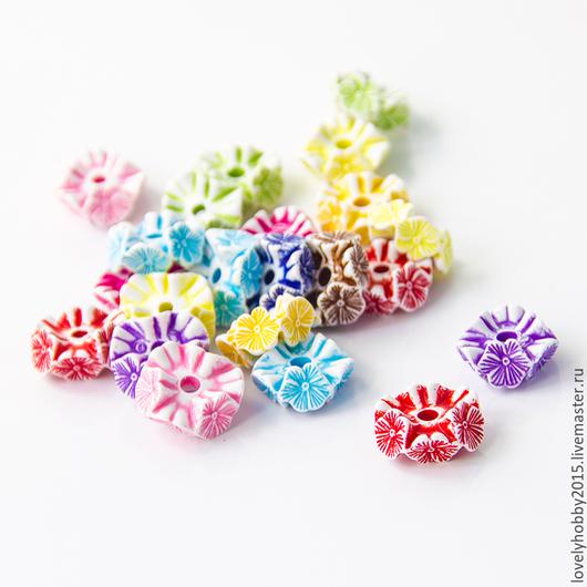 разноцветные пластиковые бусины ГВОЗДИКИ