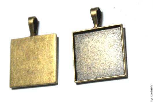 Квадратная основа для кулона 2,5 на 2,5 см.  Цвет бронза - 25 руб  шт.