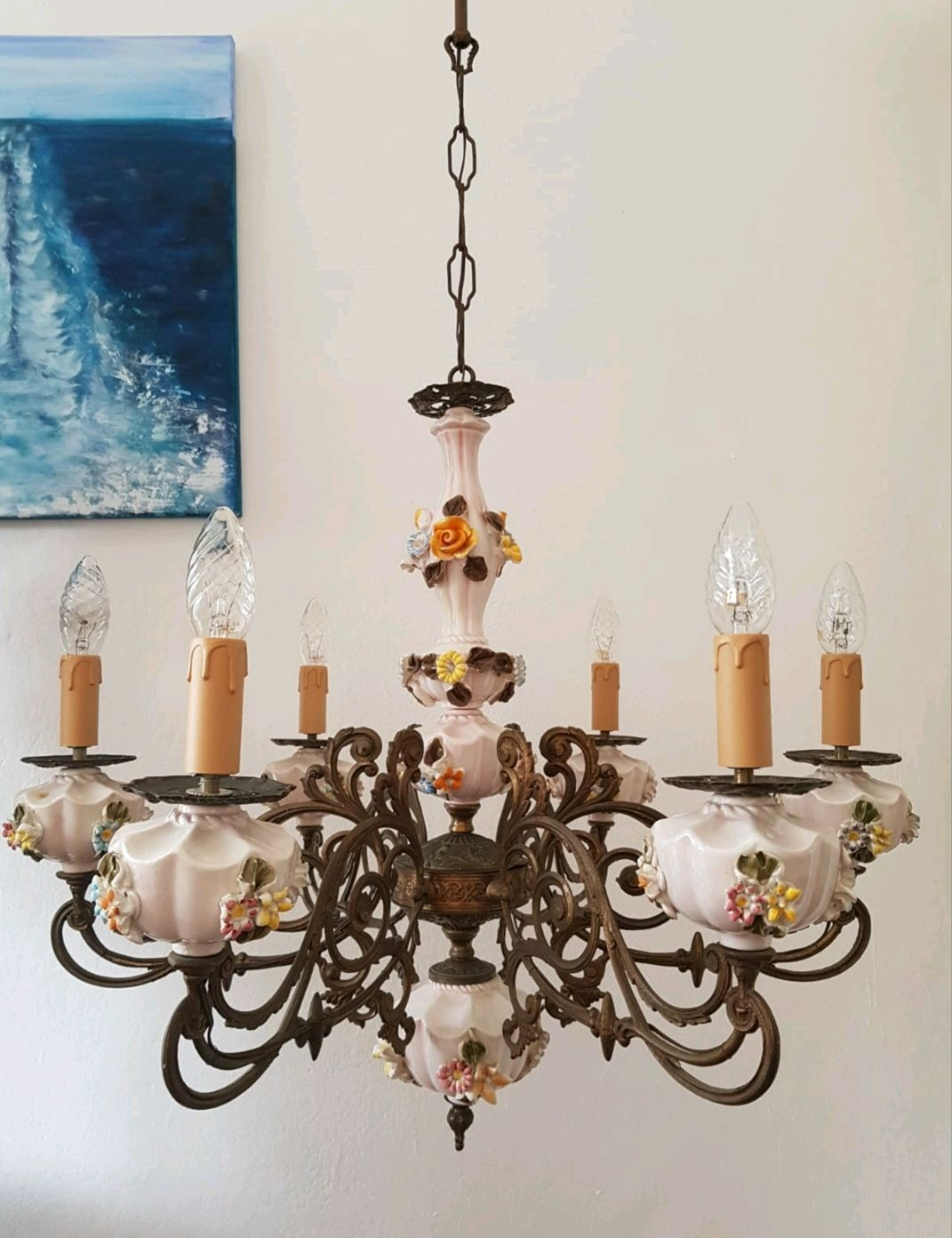 Antique brass chandelier with ceramic elements. Italy, Vintage interior, Pisa,  Фото №1