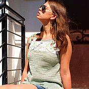 Одежда ручной работы. Ярмарка Мастеров - ручная работа Летние травы. Топ из хлопка. Handmade.
