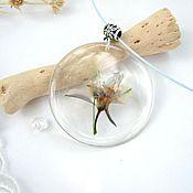 Украшения handmade. Livemaster - original item Transparent Pendant with Real Flowers and Leaves White Blue Flower. Handmade.