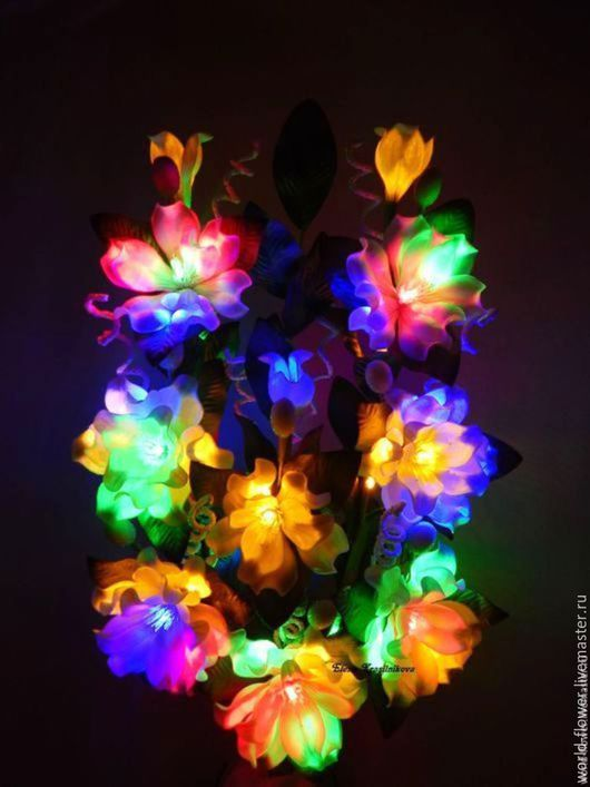 """Освещение ручной работы. Ярмарка Мастеров - ручная работа. Купить Букет-светильник  """"Северное сияние"""". Handmade. Цветы ручной работы"""