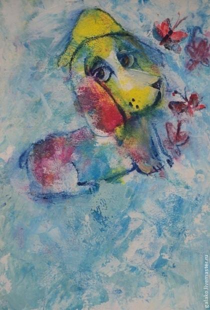 Фантазийные сюжеты ручной работы. Ярмарка Мастеров - ручная работа Воображариум 9 .Пёс и бабочки. Handmade.