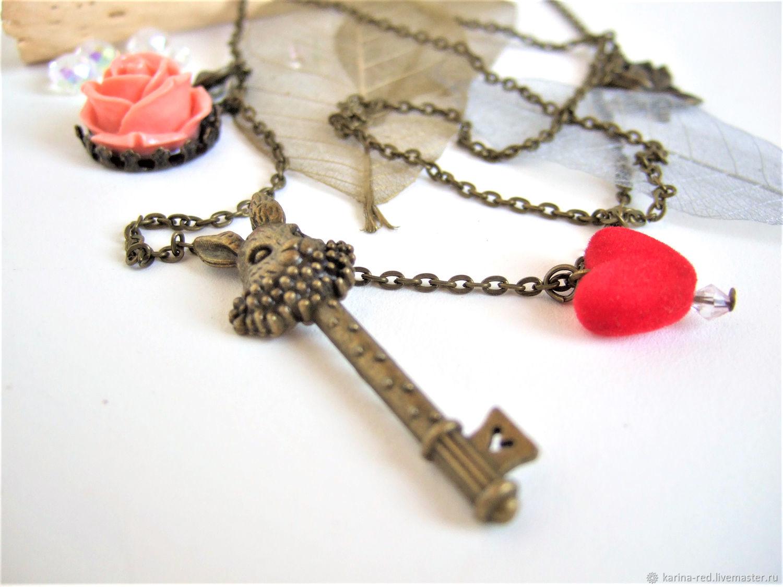 Pendant Key to Wonderland Alice in Wonderland Rabbit rose Boho, Pendants, Taganrog,  Фото №1