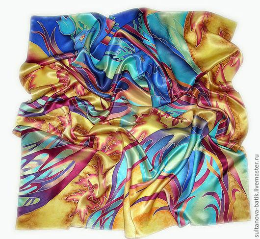 """Шали, палантины ручной работы. Ярмарка Мастеров - ручная работа. Купить платок """"Осенний марафон"""". Handmade. Платок батик"""