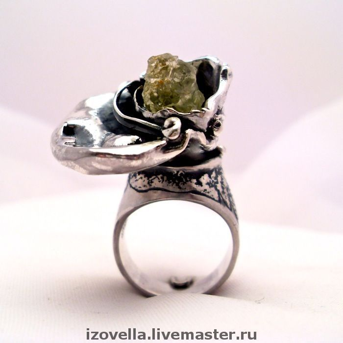 Ring 'Under the wing of an angel' - crystal of Heliodor, silver, Rings, Prague,  Фото №1