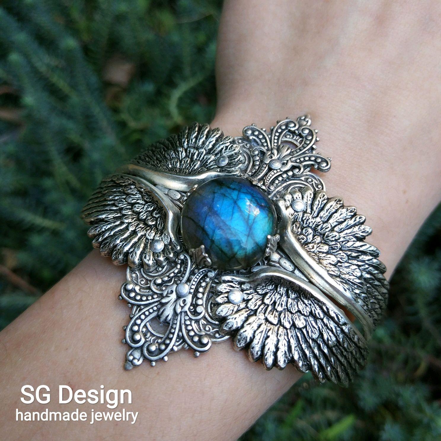 Silver bracelet 'Vincentia' Labrador, Spectrolite, Wings, Bead bracelet, Yalta,  Фото №1