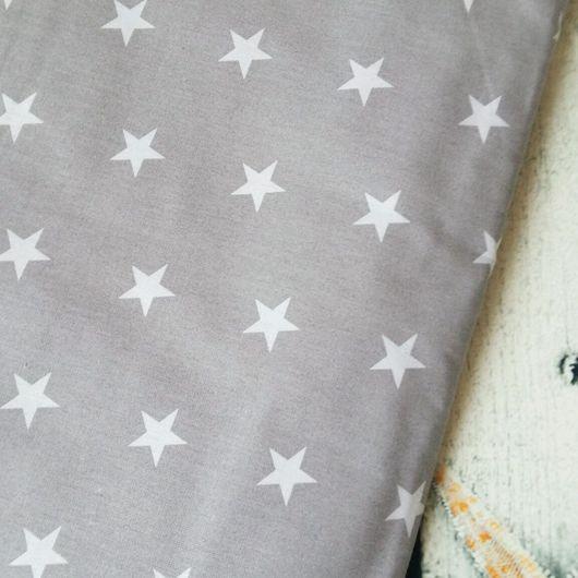 Шитье ручной работы. Ярмарка Мастеров - ручная работа. Купить Хлопок 100%  Польша,Звезды на сером. Handmade. Хлопок для пэчворка