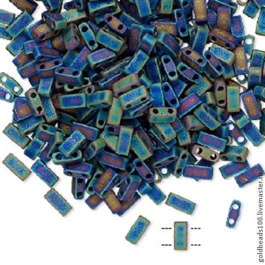 Для украшений ручной работы. Ярмарка Мастеров - ручная работа. Купить MIYUKI Half-Tila 401FR opaque matte rainbow black. Handmade.
