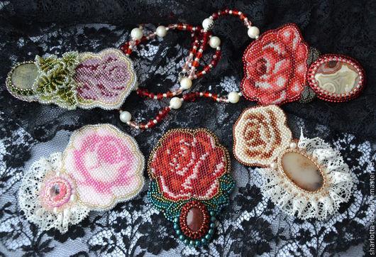 """Броши ручной работы. Ярмарка Мастеров - ручная работа. Купить Брошь-кулон """" Роза"""" в винтажном стиле.. Handmade."""