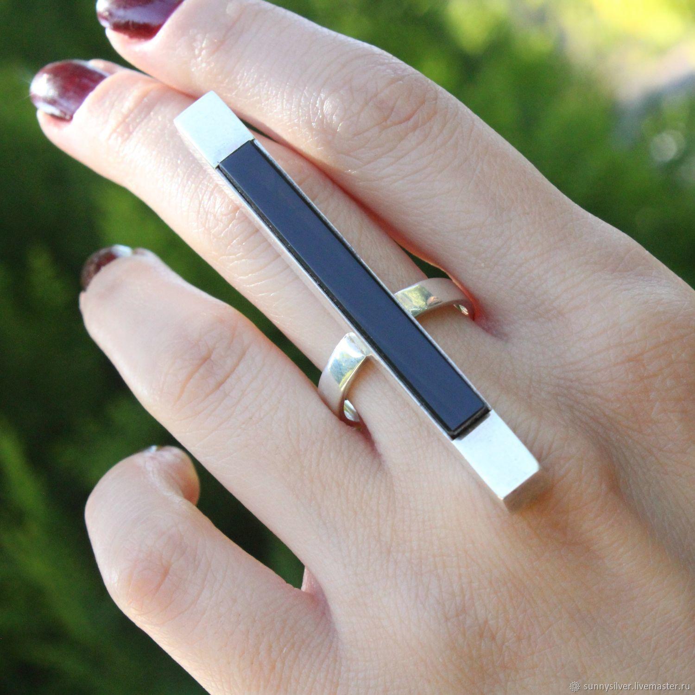 Кольцо с Бар с натуральным обсидианом из серебра 925 пробы NI0004, Кольца, Ереван,  Фото №1