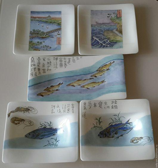 Персональные подарки ручной работы. Ярмарка Мастеров - ручная работа. Купить Рыбы, японские мотивы. Handmade. Ручная роспись посуды