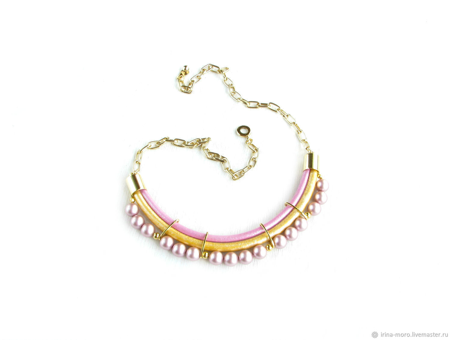 Necklace with Swarovski pearls 'Lollipops' pink necklace, gold, Necklace, Moscow,  Фото №1
