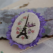 Украшения ручной работы. Ярмарка Мастеров - ручная работа Брошь с вышивкой, винтаж. Весна в Париже. Handmade.