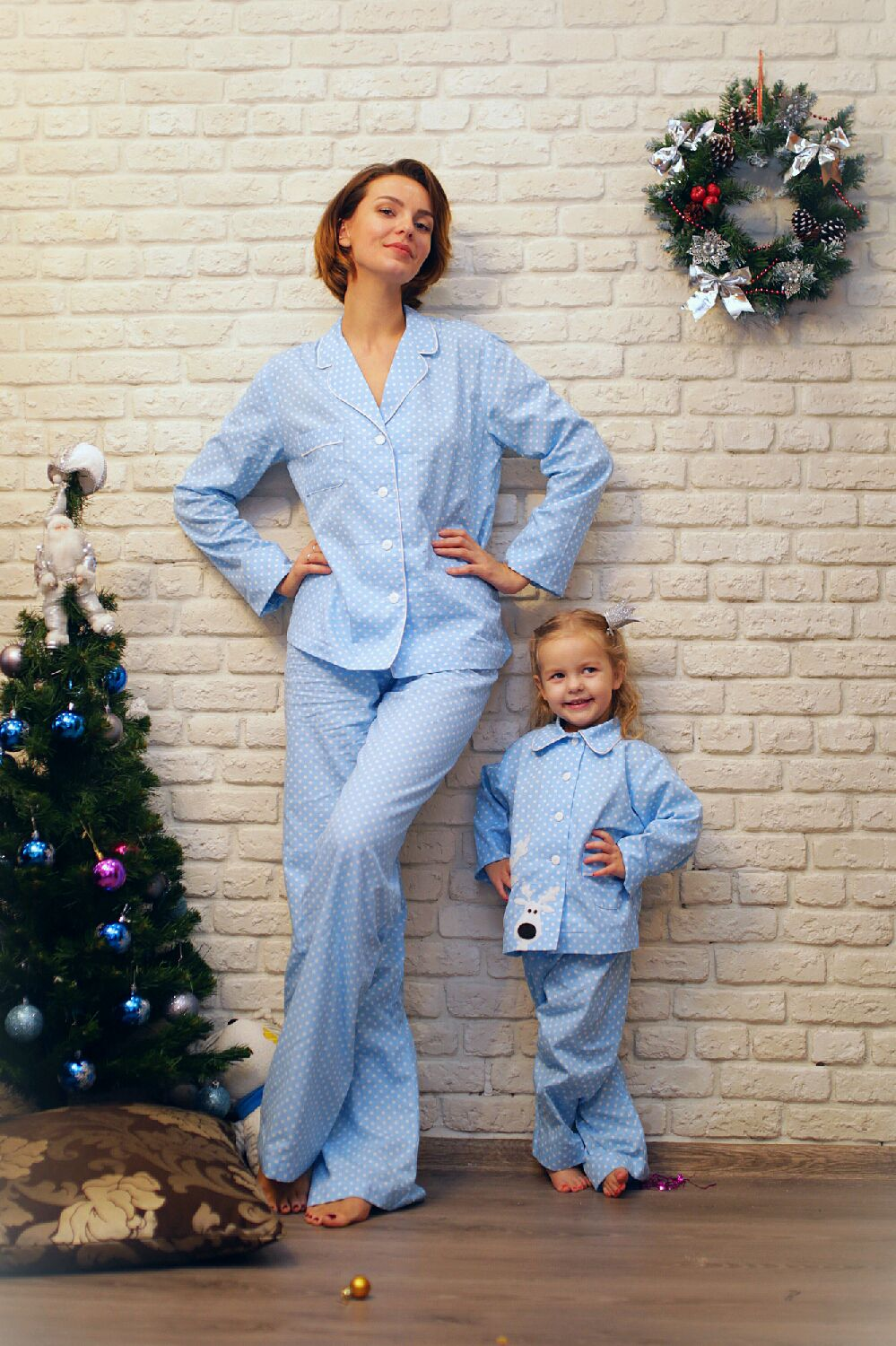 Designer women's pajamas from a Christmas collection'Merry reindeer, Robes, Moscow,  Фото №1