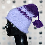 Шапки ручной работы. Ярмарка Мастеров - ручная работа Фиолетовая жаккардовая шапка из ангоры с кисточкой. Handmade.
