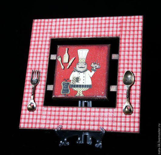 """Кухня ручной работы. Ярмарка Мастеров - ручная работа. Купить Панно """"Повар-1"""". Handmade. Ярко-красный, подарок, клетка"""