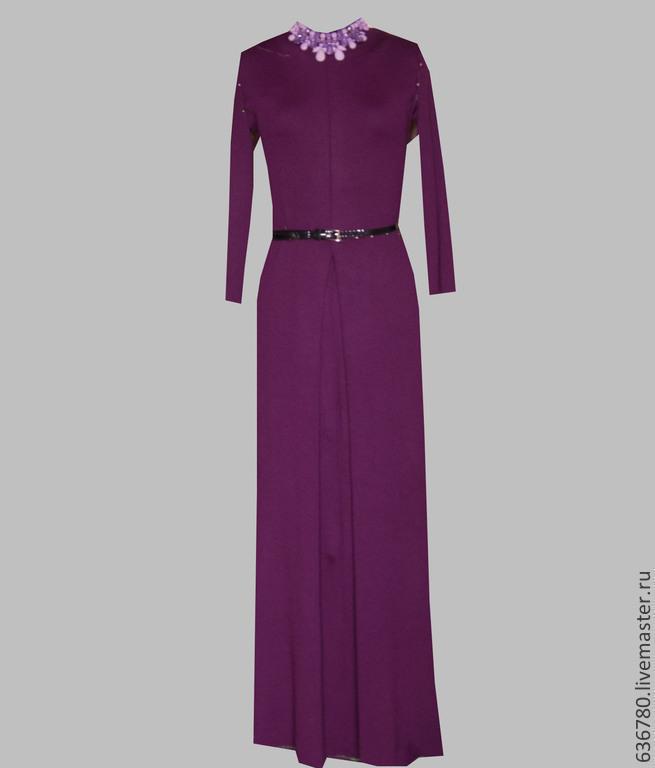 Фиолетовое вязаное платье в пол, Платья, Стрежевой,  Фото №1