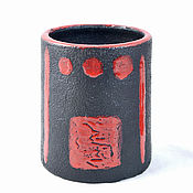 Посуда handmade. Livemaster - original item Glasses Red on black. Handmade.