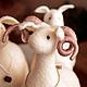 Миниатюра ручной работы. Ярмарка Мастеров - ручная работа. Купить Барашек войлочный Рогатый, овечки и бараны. Handmade. Белый, овен
