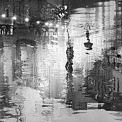 Картины и панно ручной работы. Ярмарка Мастеров - ручная работа Абстрактная черно белая картина город Санкт-Петербург «Ночные огни». Handmade.