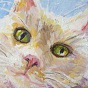 """Картины и панно ручной работы. Ярмарка Мастеров - ручная работа картина """"Кошечка с зелеными глазами"""". Handmade."""