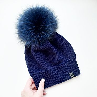 Accessories handmade. Livemaster - original item hat. Accessories for women. Knitted Cap with Fur pompom. Handmade.