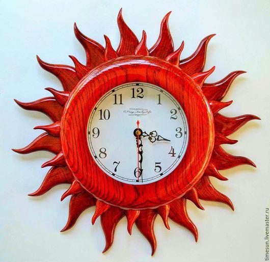 """Часы для дома ручной работы. Ярмарка Мастеров - ручная работа. Купить Часы настенные """"Красное Солнце"""". Handmade. Ярко-красный"""
