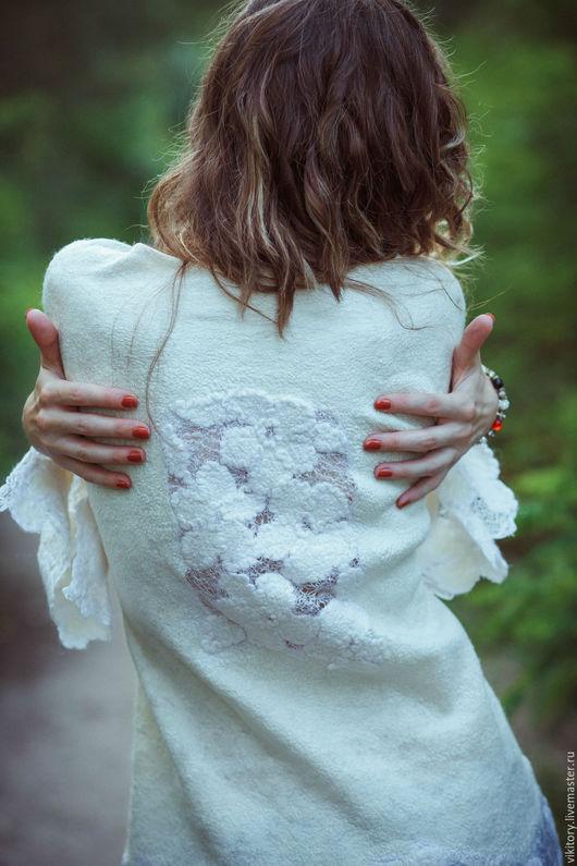 """Пиджаки, жакеты ручной работы. Ярмарка Мастеров - ручная работа. Купить Жакет """"Ришелье"""". Handmade. Белый, нуновойлок, Ришелье"""