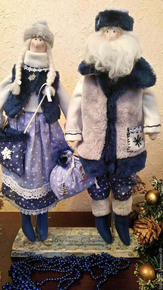 Куклы Тильды ручной работы. Ярмарка Мастеров - ручная работа. Купить Дед Мороз и Снегурочка Тильда. Handmade. Комбинированный