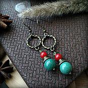 handmade. Livemaster - original item Earrings with natural stones ethnics.. Handmade.