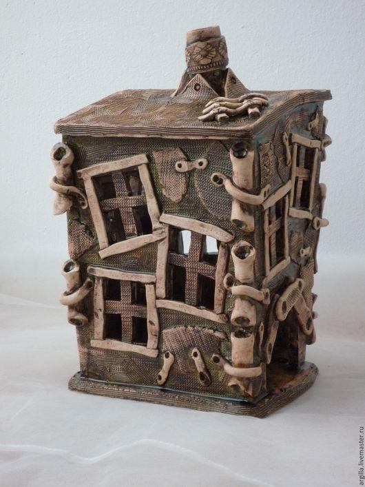 """Подсвечники ручной работы. Ярмарка Мастеров - ручная работа. Купить керамический домик подсвечник""""№9"""". Handmade. Комбинированный, домики, соли металлов"""