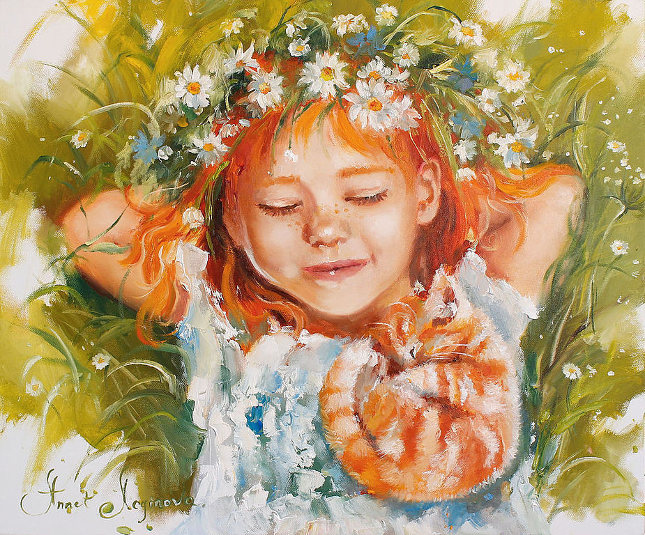 Portraits handmade. Livemaster - handmade. Buy Redhead in love.Summer, chamomile, brilliant gift, kids colors