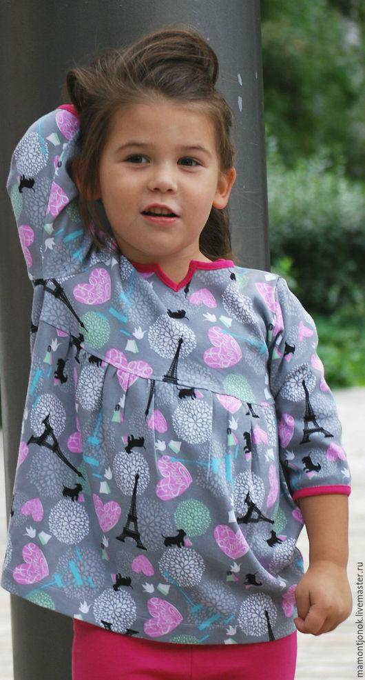 """Одежда для девочек, ручной работы. Ярмарка Мастеров - ручная работа. Купить Туника для девочки """"Прекрасная парижаночка"""". Handmade. Серый, для праздника"""
