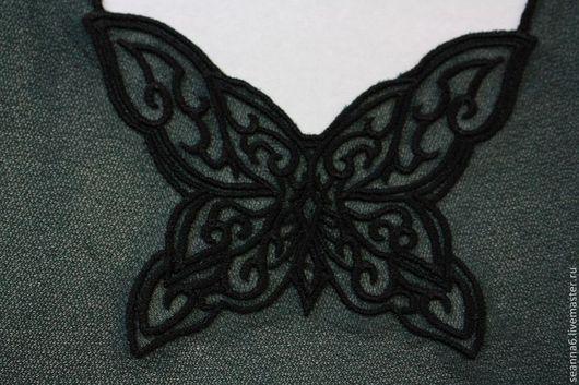 """Аппликации, вставки, отделка ручной работы. Ярмарка Мастеров - ручная работа. Купить Вышивка на заказ выреза """"Ажурная бабочка"""" в любом цвете. Handmade."""