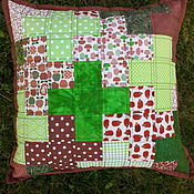 """Для дома и интерьера ручной работы. Ярмарка Мастеров - ручная работа Лоскутная подушка """"Лесная"""" (маленькая). Handmade."""