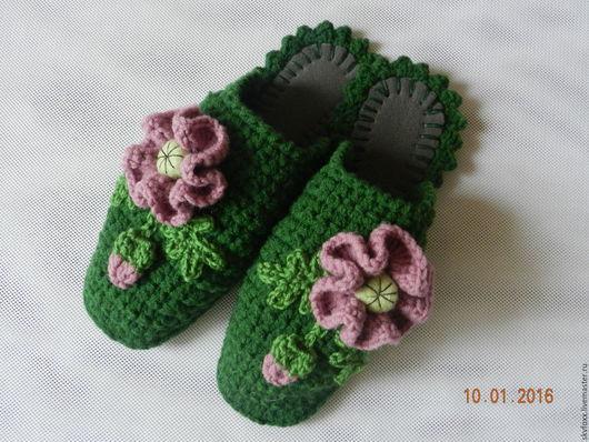"""Обувь ручной работы. Ярмарка Мастеров - ручная работа. Купить """"Пыльно-розовые Маки в зелени"""" тапочки (подошва валяная). Handmade."""