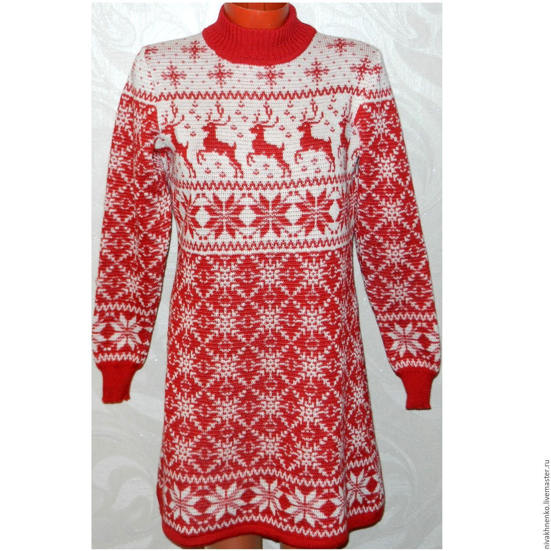 ... оленями и норвежским орнаментом вязаное Новогоднее. Кофты и свитера ручной  работы. Ярмарка Мастеров - ручная работа. Купить Платье-свитер ... 4e4da32300d