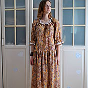 Одежда handmade. Livemaster - original item Long dress in retro style made of cotton Patterned. Handmade.