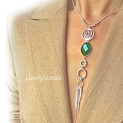 Украшения handmade. Livemaster - original item Necklace brush Whirlpool - green agate on a chain necklace elongated. Handmade.