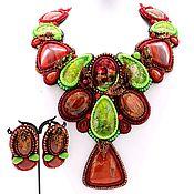 Украшения handmade. Livemaster - original item Red-green handmade beadwork necklace. Unique handmade gift for women. Handmade.