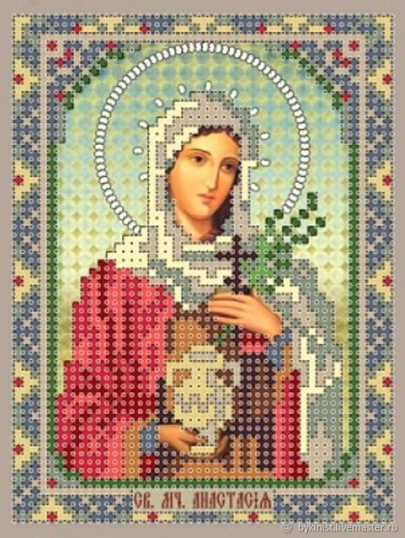 St. MCH.Anastasia'.Scheme for b-I beads on satin', Patterns for embroidery, Schyolkovo,  Фото №1