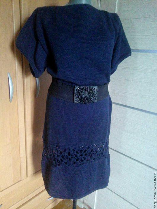 Платья ручной работы. Ярмарка Мастеров - ручная работа. Купить Вязаное платье. Handmade. Тёмно-синий, вязаная одежда керчь