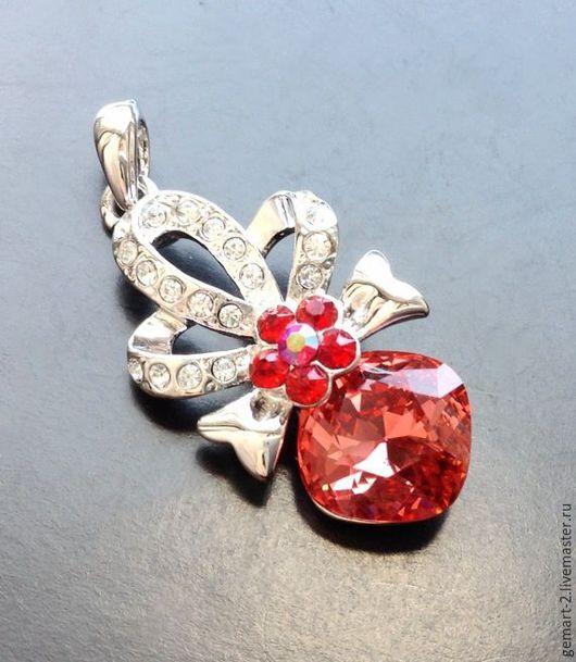 Для украшений ручной работы. Ярмарка Мастеров - ручная работа. Купить Подвеска с красным кристаллом арт. 7-147. Handmade.