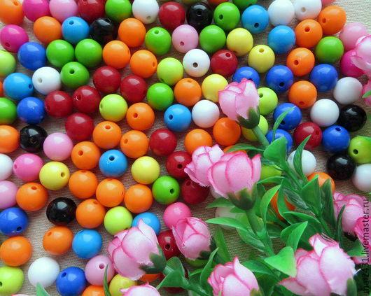 Бусины 14 мм, пластиковые круглые
