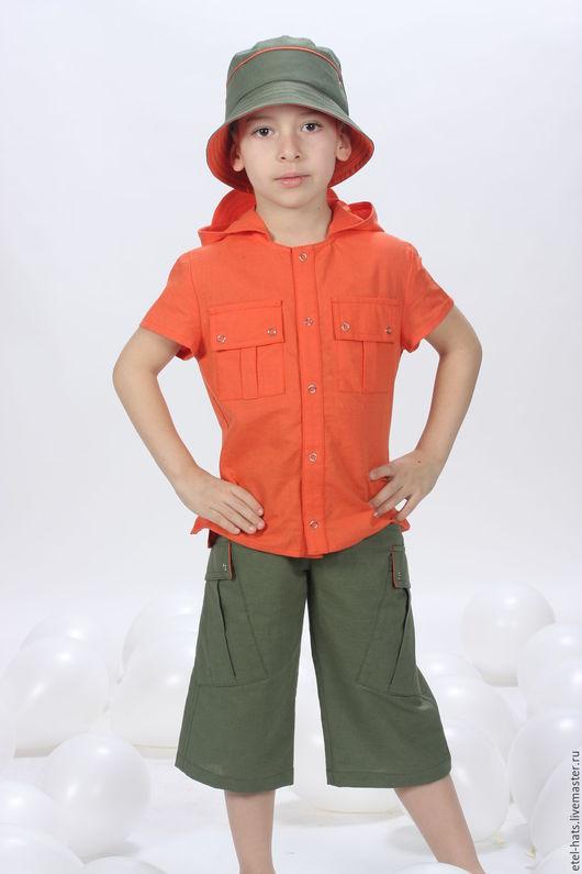 Для подростков, ручной работы. Ярмарка Мастеров - ручная работа. Купить Рубашка для мальчика. Handmade. Оранжевый, рубашка для мальчика
