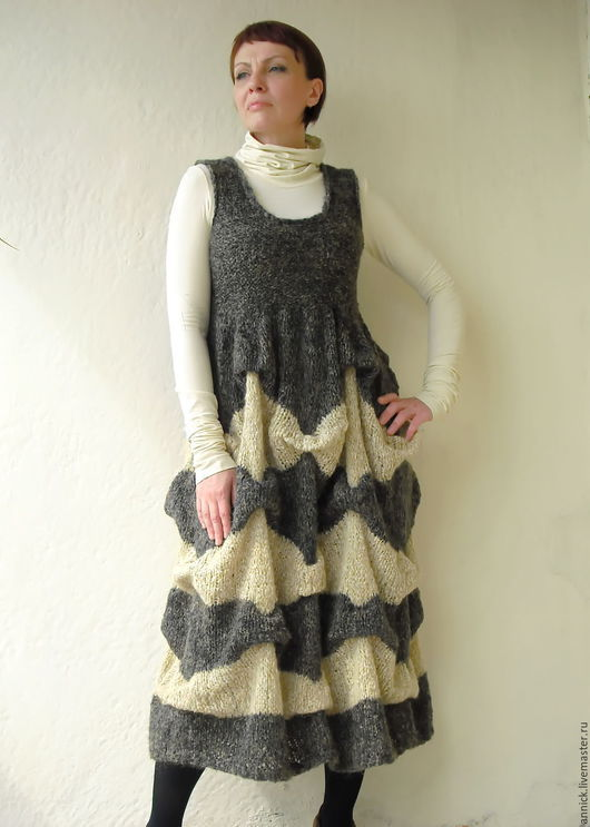 Платья ручной работы. Ярмарка Мастеров - ручная работа. Купить Вязаный теплый сарафан комбинированный. Handmade. Разноцветный, сарафан, комплект
